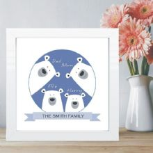 Polar Bear Family in Box Frame - Personalised With Names - Housewarming Gift - New Baby Keepsake